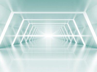 Canvas print Abstract illuminated empty light blue shining corridor interior