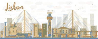 Canvas print Abstract Lisbon city skyline with brown and blue buildings