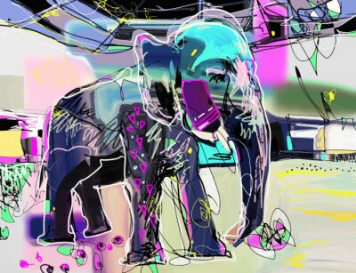 Canvas print abstract memphis digital painting of indian elephant