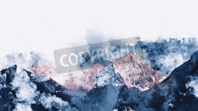 Canvas print Abstract mountain ranges in morning light,  digital watercolor painting