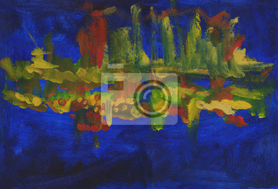 Abstract night landscape with reflection in the river city. Oil painting