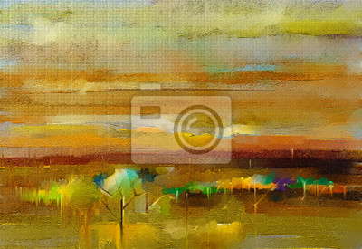 Abstract oil, acrylic painting outdoor, landscape. Oil painting metallic yellow gold color on canvas. Semi-abstract colorful tree, field, meadow. Abstraction nature, contemporary art for background