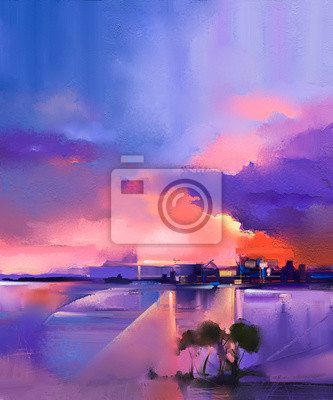 Abstract oil painting background. Twilight, sunset, colorful orange and purple sky oil painting landscape on canvas. Semi- abstract tree, hill and sea. Sunset landscape oil painting nature background