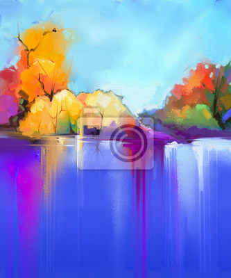 Abstract oil painting  landscape background. Colorful blue and purple sky. Oil painting outdoor landscapes on canvas. Semi- abstract tree and lake. Summer season, Sunlight landscape nature background