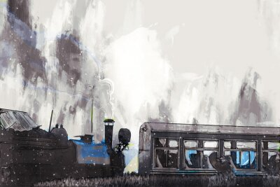 Canvas print Abstract painting of vintage train with smoke, digital painting