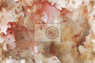 Abstract red-white-brown background. Watercolor painting