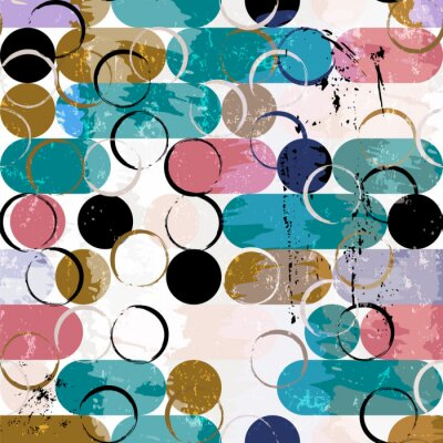 Canvas print abstract seamless background pattern, with circles / ovals, strokes and splashes, vector art