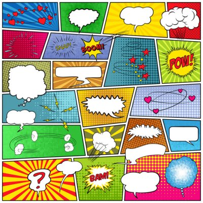 Canvas print Abstract set of comic template