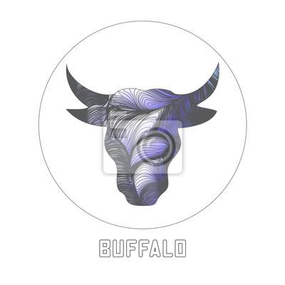 abstract silhouette buffalo head. vector illustration
