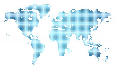 Canvas print Abstract vector illustration of a dotted worldmap