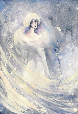 Canvas print Abstract watercolor illustration depicting a portrait of a woman-winter