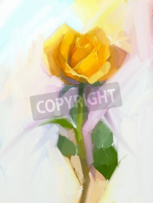 Canvas print Abstract yellow rose flower with green leaf oil painting. Hand Painted floral in soft color and blurred style background