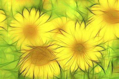 Canvas print abstrakte moderne Illustration gelbe Sonnenblumen