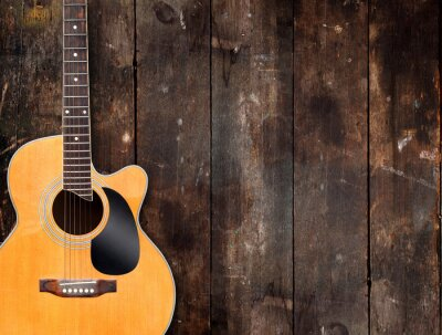 Canvas print Acoustic Guitar on Rustic Background