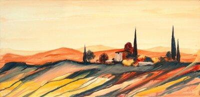 Canvas print Acrylfarben Gemälde einer stark farbigen bunten Toskana Landschaft mit Haus, Bäumen und Zypressen mit fließender Farbe, Farbspritzern und Tropfen mit Textfreiraum