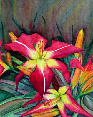 Canvas print Acrylic illustrations of bright flowers. Flowers day lilies.