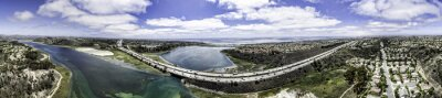 Canvas print Aerial Panoramic of Batisquitos Lagoon in Carlsbad, California, USA.