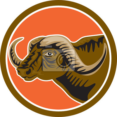African Buffalo Head Side Circle Retro