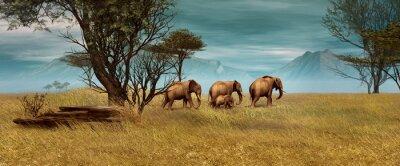 Canvas print African Elephants, 3d CG
