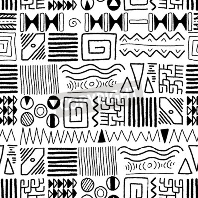 Canvas print African ethnic pattern - indigenous art background. Africa style design.