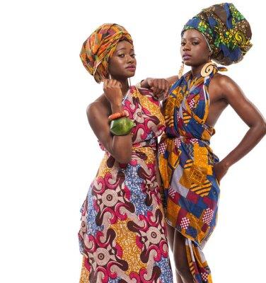 Canvas print African female models posing in dresses.