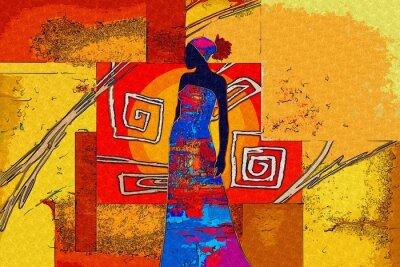 Canvas print african motive ethnic retro vintage