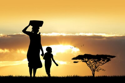Canvas print African woman and son at sunset