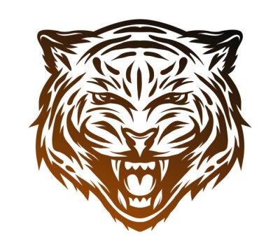 Canvas print  Aggressive tiger face. Line art style.