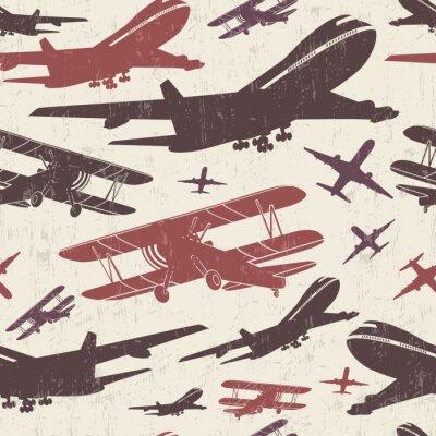 Canvas print Airplane retro seamless template