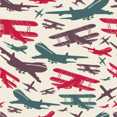 Canvas print Airplane retro seamless template, old background textured for poster