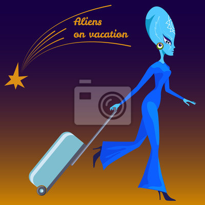 Canvas print Aliens on vacation. Humanoid with a suitcase