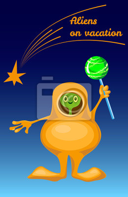 Aliens on vacation. Humanoid with Lollipop