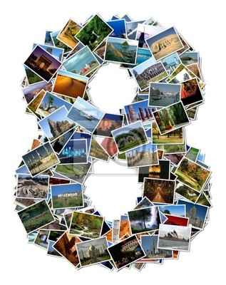 All over the world photo font 8 with 210 original pictures