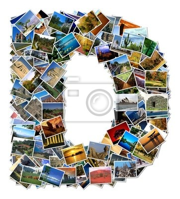 All over the world photo font D with 210 original pictures