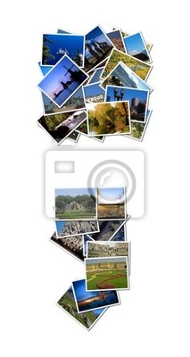 All over the world photo font dot and comma with 30 pictures