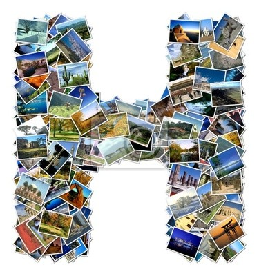 All over the world photo font H with 210 original pictures