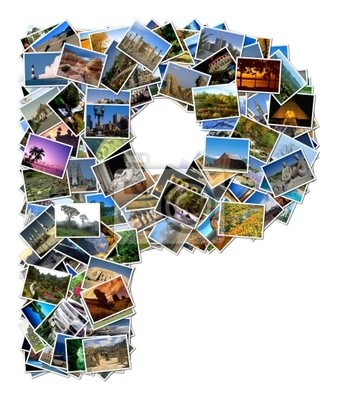 All over the world photo font P with 210 original pictures