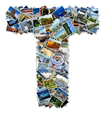 All over the world photo font T with 210 original pictures