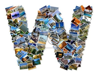 All over the world photo font W with 210 original pictures