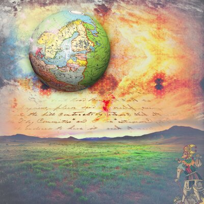 Canvas print Allegory travel with crazy tarot