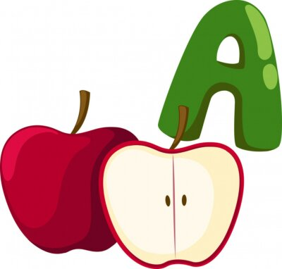Canvas print alphabet  A  for apple