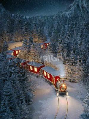 Canvas print Amazing cute christmas train goes through fantastic winter forest in north pole. Unusual christmas 3d illustration