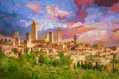 Canvas print Amazing landscape view of San Gimignano is a small walled medieval hill town during colorful evening sunset in summer time, Tuscany, Italy.- oil painting