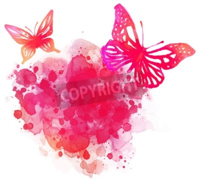 Canvas print Amazing watercolor background with butterfly. Vector art isolated on white