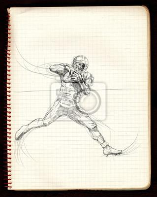 american football game (running player) - black lines variation