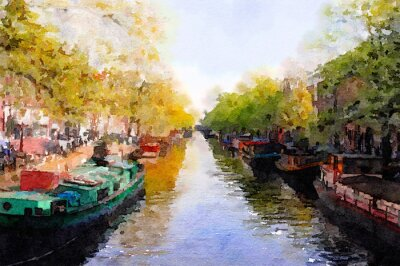 Canvas print Amsterdam Canal