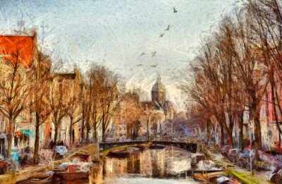 Canvas print Amsterdam canal at morning impressionistic painting