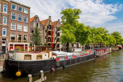 Canvas print Amsterdam canals and  boats, Holland, Netherlands.