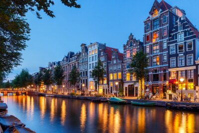 Canvas print Amsterdam's canals.