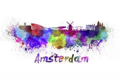Canvas print Amsterdam skyline in watercolor